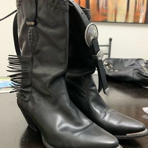 Code west Cowgirl Western Fringe Black Boots 7.5